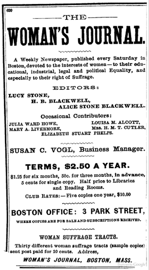 Woman's Journal - 1887 advertisement