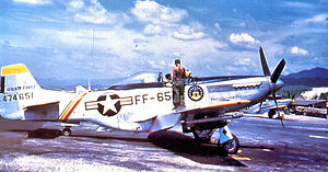 18th Wing - North American F-51D-30-NA Mustang, AF Ser. No. 44-74651, cira 1950.  This aircraft was deployed to South Korea and is marked as the Wing Commander's.