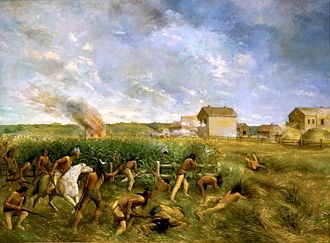 "Dakota War of 1862 - 1904 painting ""Attack on New Ulm"" by Anton Gag"