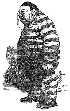 Caricature of a big, heavyset man in a striped convict suit
