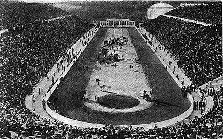 The Panathinaiko Stadium was one of the first modern track and field stadiums 1906 Athens stadium.jpg