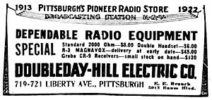 KQV - Image: 1922 Doubleday Hill advertisement