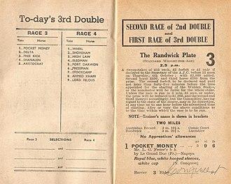 Delta (horse) - Image: 1951 AJC Randwick Plate Racebook P3