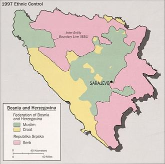 Federation of Bosnia and Herzegovina - Image: 1997 Ethnic Control Bosnia