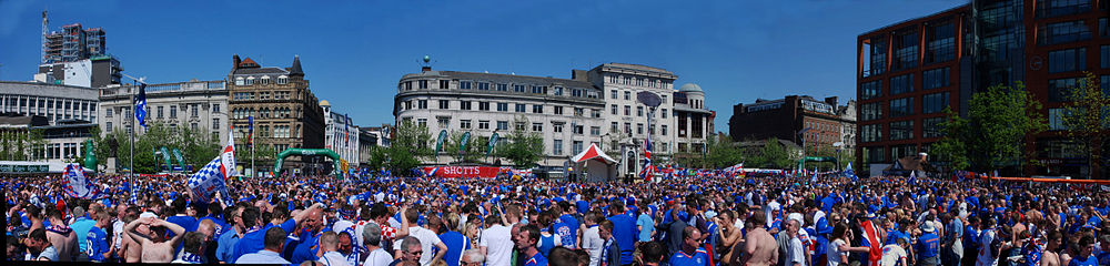A panorama of Rangers supporters at the 2008 UEFA Cup final, in the Piccadilly Gardens fan zone. This picture was taken during the day before the match against Zenit Saint Petersburg on 14 May 2008.