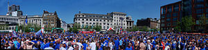 Rangers F.C. supporters - A panorama of Rangers supporters at the 2008 UEFA Cup final, in the Piccadilly Gardens fan zone. This picture was taken during the day before the match against Zenit Saint Petersburg on 14 May 2008.