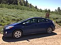 2013-07-12 10 45 51 A Prius in the Wilderness... on Charleston-Jarbidge Road (Elko County Route 748) at Coon Creek Summit, Nevada (sign in background).JPG