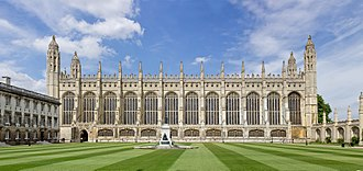 King's College, Cambridge - The College Chapel, as first planned by Henry VI. The building line between light and dark stone can be seen on the chapel's side.