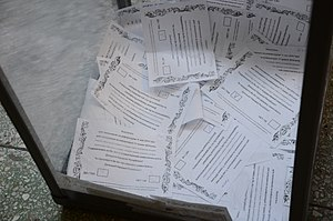 Donbass status referendums, 2014 - Marked ballots for the Donetsk referendum inside the ballot box.