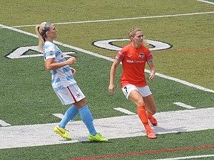 Julie Ertz - Ertz (left) with the Chicago Red Stars during a match against Houston Dash on July 26, 2014