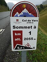 2014 Mountain pass cycling milestone - Col de Vars Guillestre.jpg