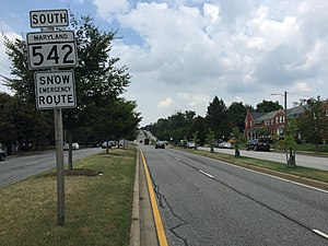 Maryland Route 542 - View south along MD 542 in Baltimore County, just north of the Baltimore city limits