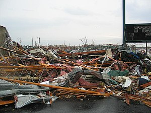 2011 Joplin tornado - Devastation in Joplin shortly after the tornado