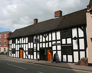 Widows' Almshouses, Nantwich - Widows' Almshouses, 26–30 Welsh Row, Nantwich; the mounting block is on the right