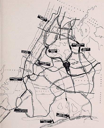 A 1964 Parks Department Map Showing Numerous Robert Moses Projects Including Several Highways That Went