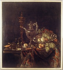 Still Life with a gilded Covered-beaker, silver Wine-jar, plate and other objects