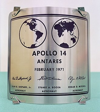 Apollo 14 - The plaque left on the Moon by Apollo 14