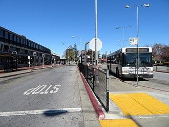 Hayward station (BART) - An AC Transit bus at Hayward station