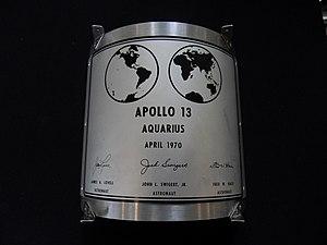 Lunar plaque - Image: APOLLO 13 LUNAR PLAQUE replica