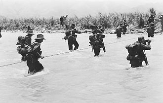 2/27th Battalion (Australia) - Image: AWM 058644 2 27 River Crossing in Ramu Valley