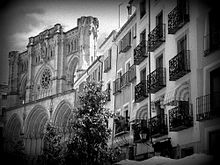 A Black and White Photo of the Cuenca Cathedral in Spain.jpeg