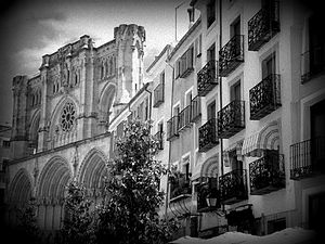 12th century - A Black and White Photo of the 12th century Cuenca Cathedral (built from 1182 to 1270) in Cuenca, Spain