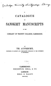 A Catalogue of Sanskrit Manuscripts in the Library of Trinity College, Cambridge (1869).djvu
