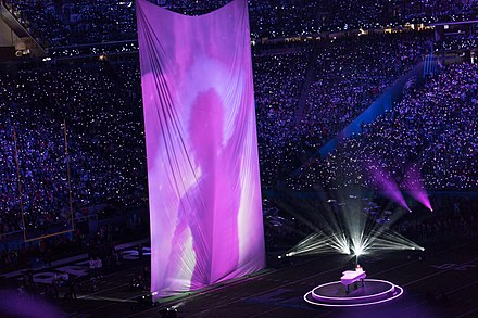 a7c7575ce Justin Timberlake performs on piano alongside projected archive footage of  Prince during the Super Bowl LII halftime show.