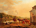 A Sunlit River Landscape With Peasants Conversing By A Barn.jpg