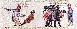 A Thracesian woman kills a Varangian
