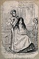 A barber cutting a girl's hair; a woman looks on. Etching. Wellcome V0019648.jpg