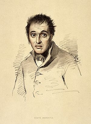 A man diagnosed as suffering from acute dementia. Lithograph Wellcome L0026694.jpg