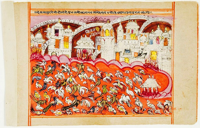 File:A page from the 18th-century Panchatantra manuscript, Rajasthan India.jpg