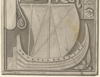 Birlinn - A carving of a birlinn from a sixteenth-century tombstone in MacDufie's Chapel, Oronsay, as engraved in 1772.