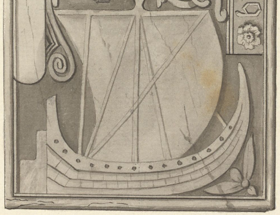 A tomb in MacDufie's Chapel, Oronsay, 1772 (cropped)