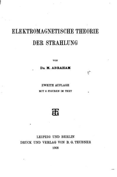 File:AbrahamElektromagnetismus1908.djvu