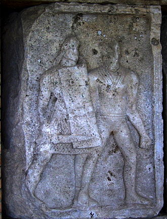 Tabula ansata - tabula ansata on the right side of the boss on a soldier shield, metope XXIV from Tropaeum Traiani