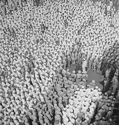 Adm. Lord Louis Mountbatten, RN, addresses personnel aboard the USS Saratoga (CV-3) at Trincomalee, Ceylon. Adm.... - NARA - 520888.jpg