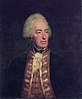 A half-length portrait of a man facing to the right. He wears a dark blue jacket with elaborate lapels, and a white wig.