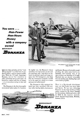 Beechcraft Bonanza - A 1947 advertisement for the first Model 35 Bonanza