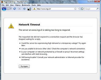 Timeout (computing) - Network timeout preventing a Web browser from loading a page