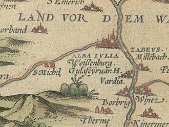 Alba Iulia - Alba Iulia on a 1556 map