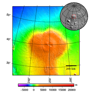 Topography map of shield vulcano Alba Patera on Mars