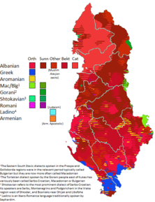Regions with a traditional presence of ethnic groups other than Albanian.