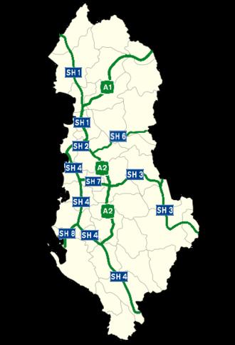 Transport in Albania - Highway network in Albania