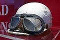 Alberto Ascari helmet and racing goggles Museo Ferrari.jpg