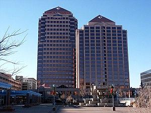 Albuquerque Plaza - Albuquerque Plaza (left) and Hyatt Regency Albuquerque (right), seen from Civic Plaza