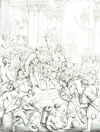 Alexios IV Angelos - Alexios comes to Zara to request the assistance of the Crusaders; sketch from a painting in the Doge's Palace, Venice