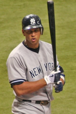 Alex Rodriguez - Rodriguez reacting to a called strike in a game against Tampa Bay