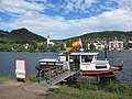 Alf Mosel river with boatferrry for bikers and pedestrians and panoramic view at Bullay - panoramio.jpg